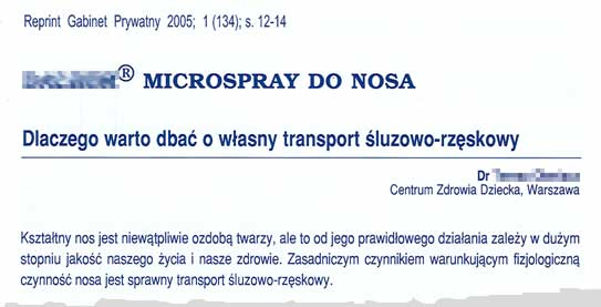 Microspray do nosa, własny transport  œluzowo-rzęskowy